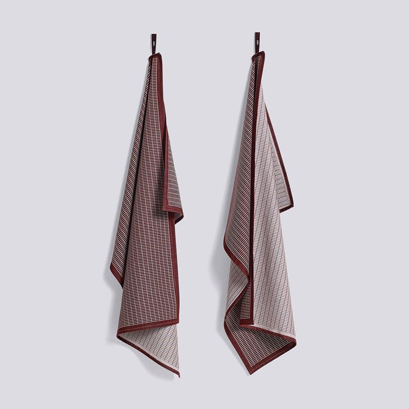 HAY Grid Tea Towel Set Bordeaux