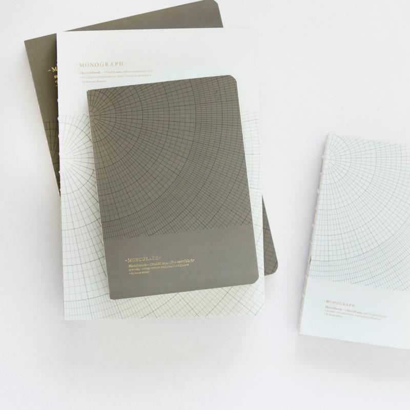 Image of   Monograph Geometic Notesbog Grågrøn