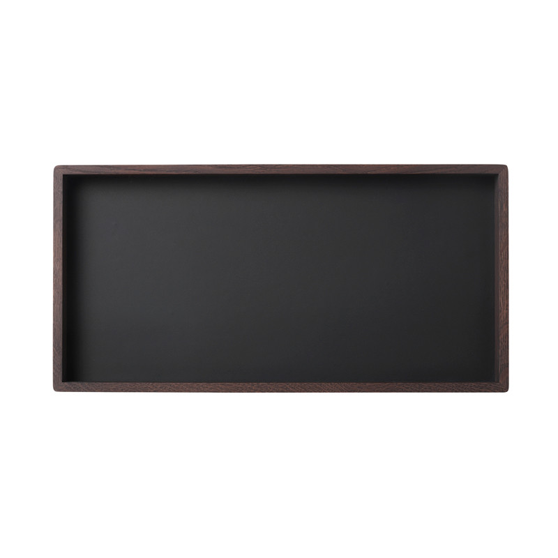Image of   Louise Roe Smoked Oak Black Linoleum Tray Rektangulær