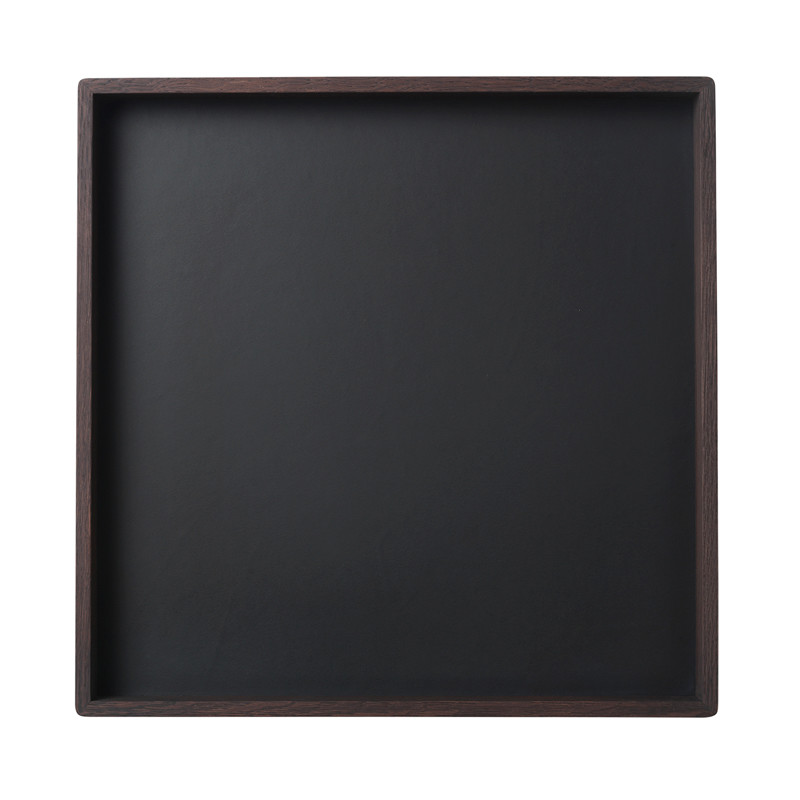 Image of   Louise Roe Smoked Oak Black Linoleum Tray Stor