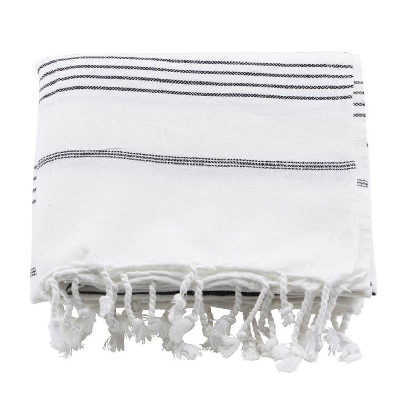 Meraki hammam badehåndklæde hvid & sort stribe