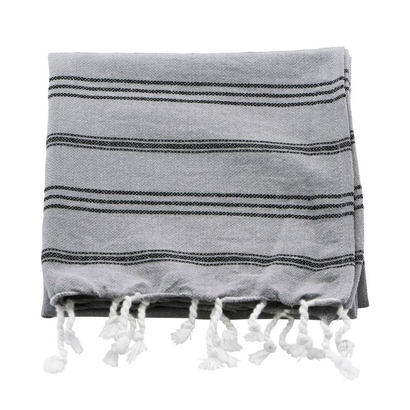 Meraki hammam håndklæde grå & sort stribe