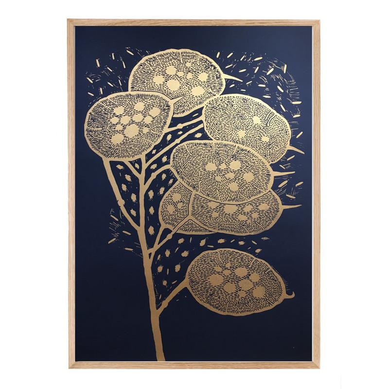 Monika Petersen Winter Branch Gold/Indigo 50 x 70 cm