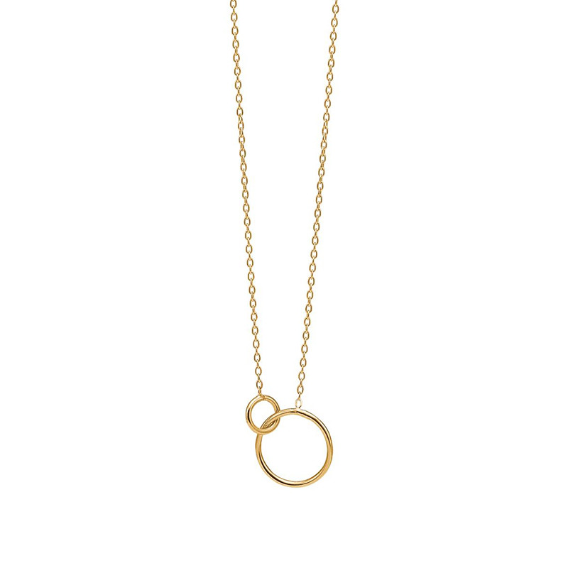 Image of   Enamel Copenhagen Double Circle Necklace Gold-Plated