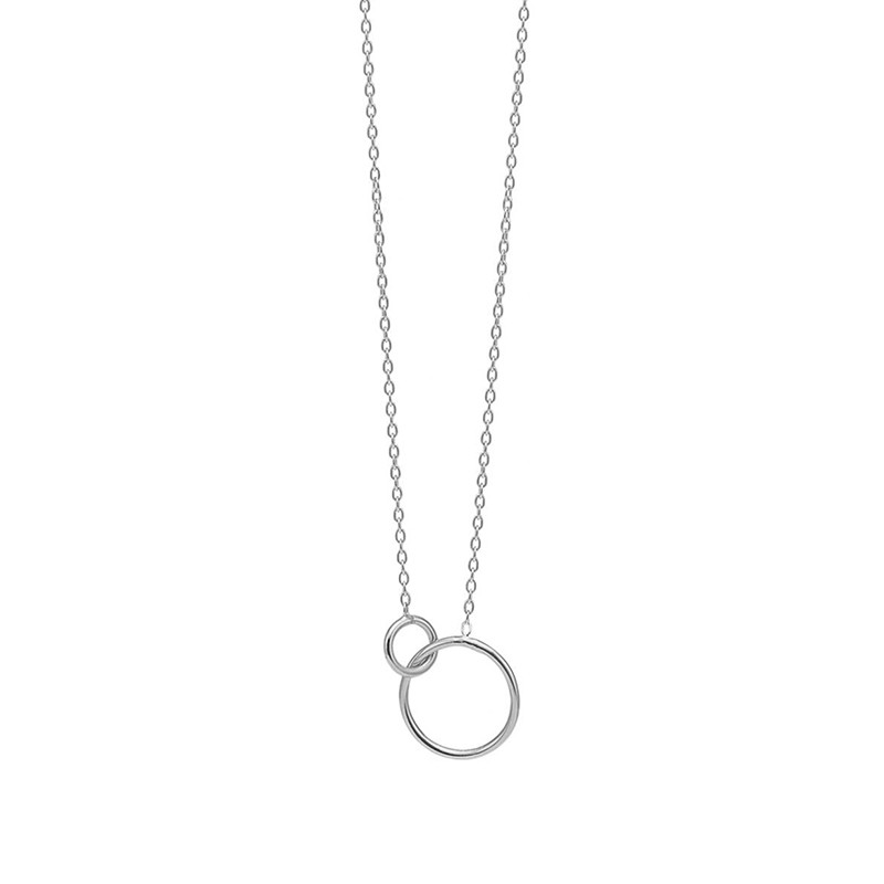 Image of   Enamel Copenhagen Double Circle Necklace Silver