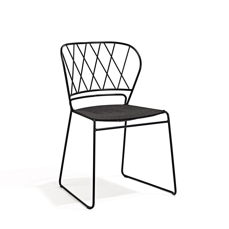 Skargaarden resö chair grey metal grey fabric seat