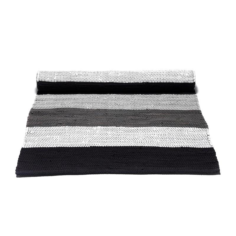Rug solid sort stribet bomuldstæppe