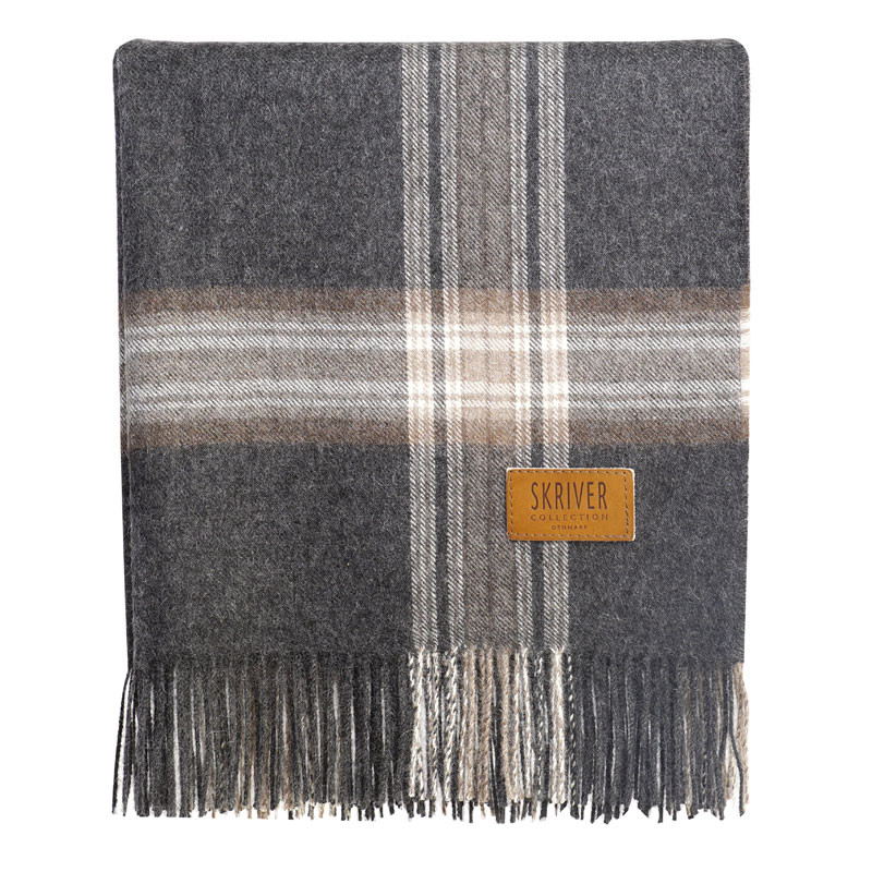 Skriver Collection Baby Alpaca Plaid Brown Grey fra Skriver Collection