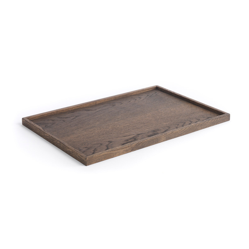 The oak men square tray black oak large