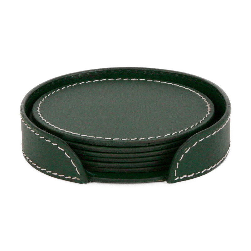 Image of   Ørskov & Co. Leather Coasters Round Dark Green