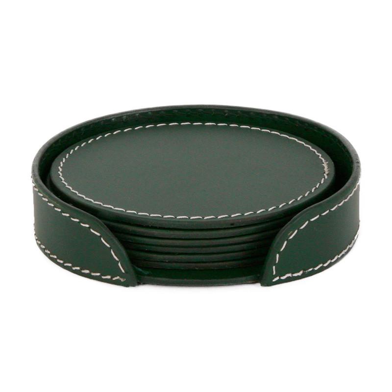 ørskov & co. leather coasters round dark green