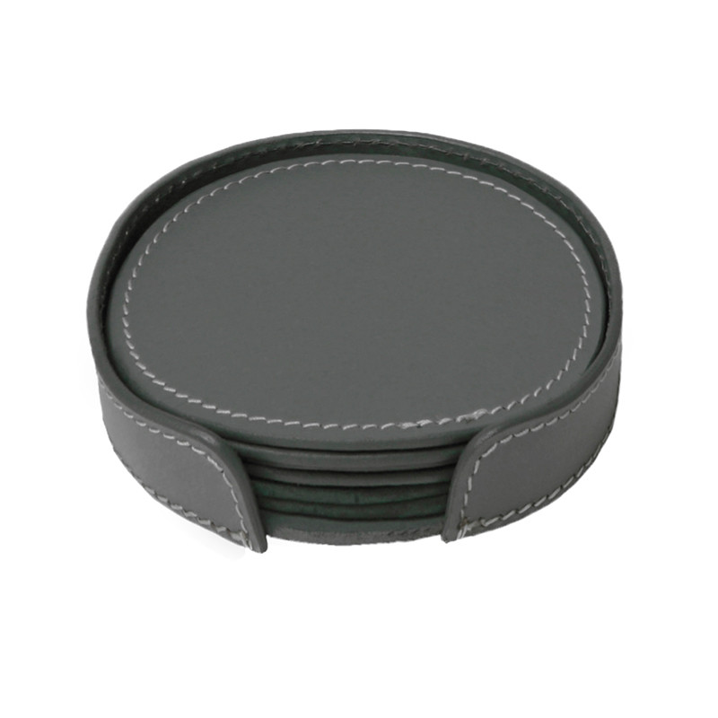 Image of   Ørskov & Co. Leather Coasters Round Dark Grey