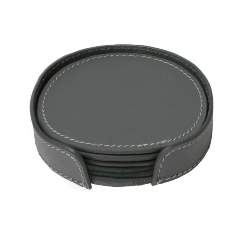 ørskov & co. leather coasters round dark grey