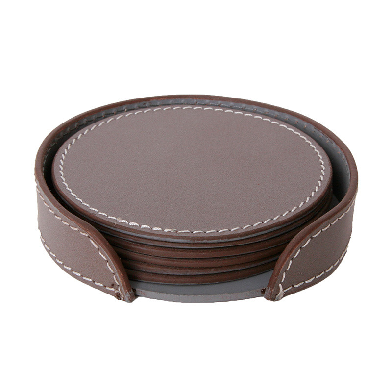 Image of   Ørskov & Co. Leather Coasters Round Elephant