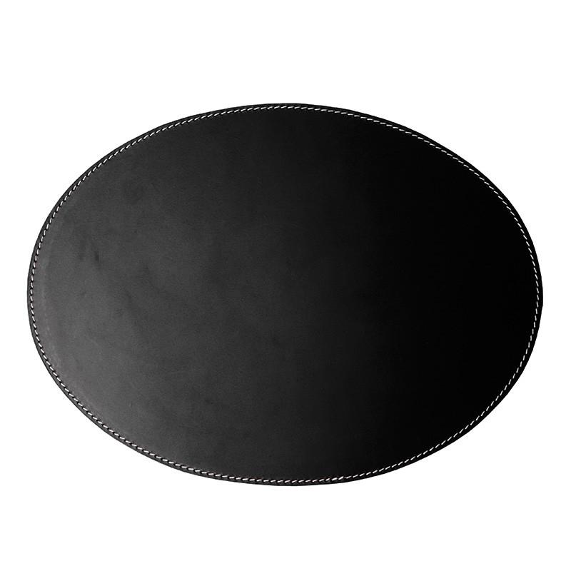 Image of   Ørskov & Co. Leather Placemat Oval Black