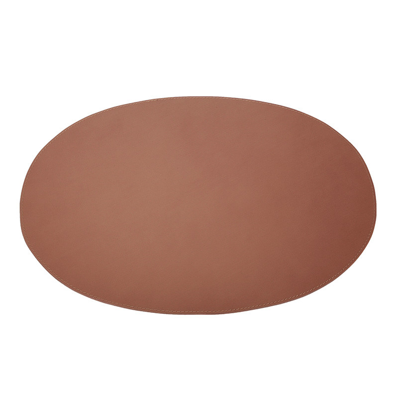 Image of   Ørskov & Co. Leather Placemat Oval Cognac