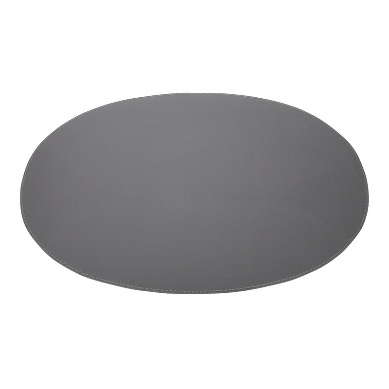 Image of   Ørskov & Co. Leather Placemat Oval Dark Grey