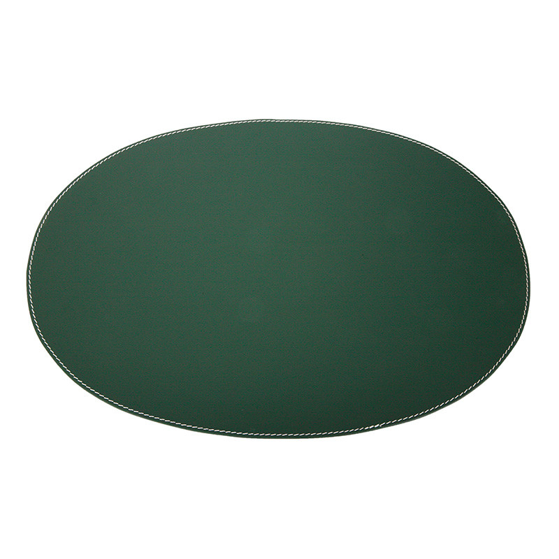 Image of   Ørskov & Co. Leather Placemat Oval Dark Green