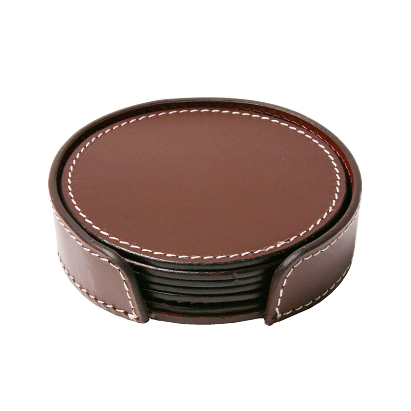 Image of   Ørskov & Co. Leather Coasters Round Brown