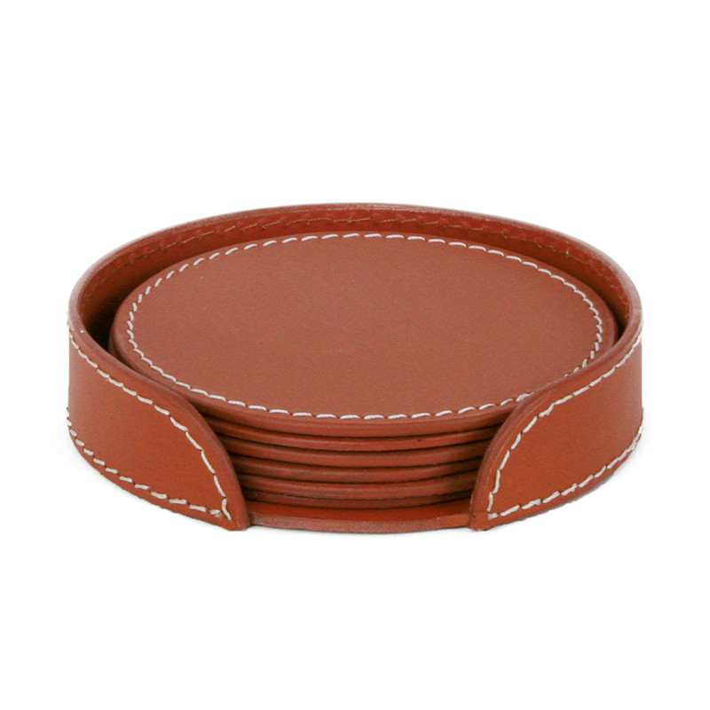 Image of   Ørskov & Co. Leather Coasters Round Cognac