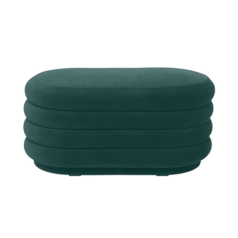 Ferm Living Pouf Oval Dark Green Medium fra Ferm Living