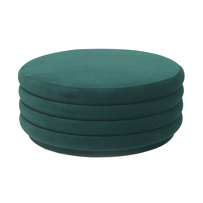 Ferm Living Pouf Round Dark Green Large fra Ferm Living