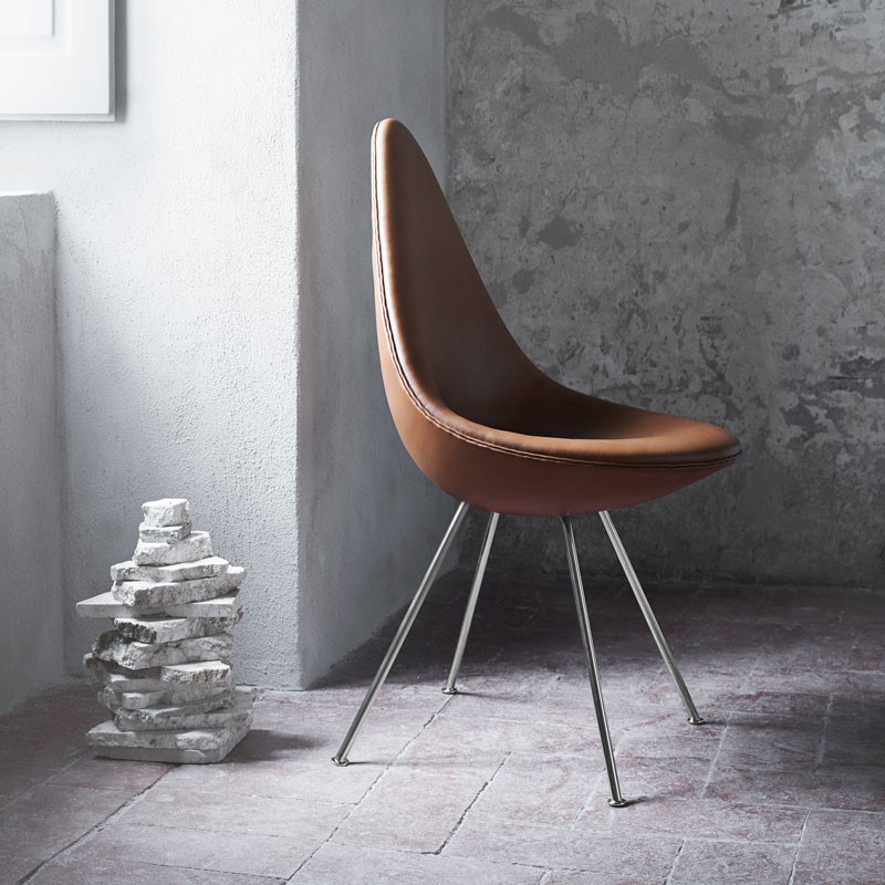 Image of   Fritz Hansen 3110 Drop Chair Fuldpolstret Læder
