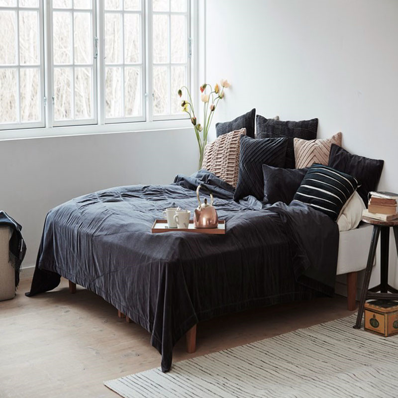 Image of   To BE Living Velvet Leaflet Bedspread Dark Grey