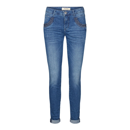 MOS MOSH JEANS - NAOMI SHINE STITCH - DARK BLUE