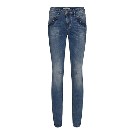 MOS MOSH JEANS - NAOMI EMBROIDERY BLUE DENIM