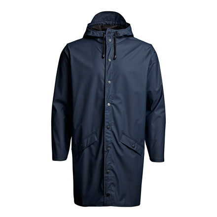 RAINS REGNJAKKE - 1202 LONG JACKET BLÅ