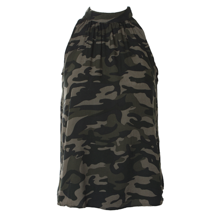 CO'COUTURE TOP - CAMOUFLAGE HALTERNECK ARMY