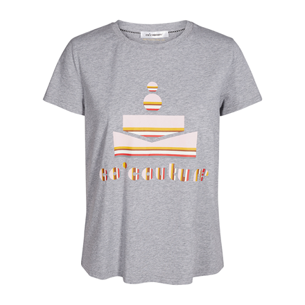 CO'COUTURE T-SHIRT - STRIPE LIGHT GREY