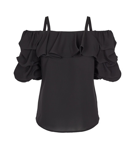 CO'COUTURE TOP - POPPY SOLID BLACK