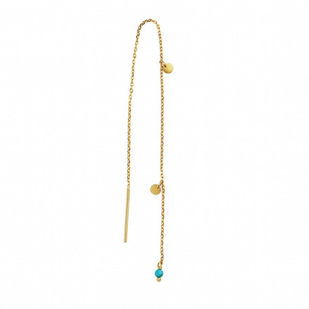 STINE A ØRERING - 1126 DANGLING PETIT COIN AND STONE GULD TURQUOISE