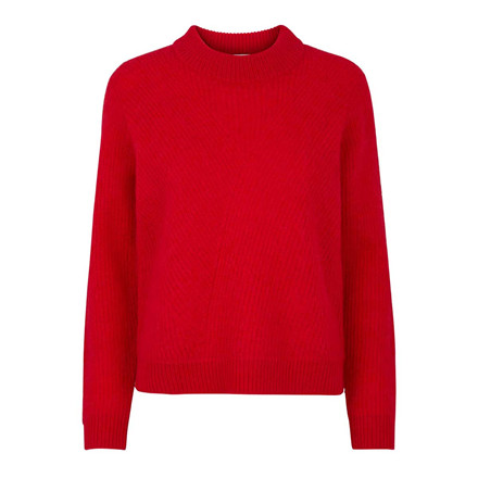 SECOND FEMALE BLUSE - MANUKA KNIT O-NECK TRUE RED