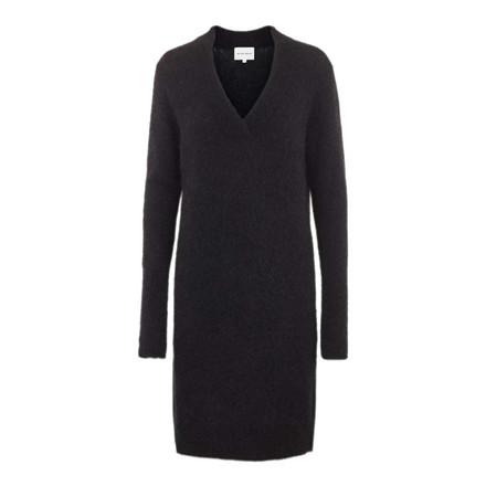 SECOND FEMALE KJOLE - BROOK KNIT V-NECK DRESS BLACK