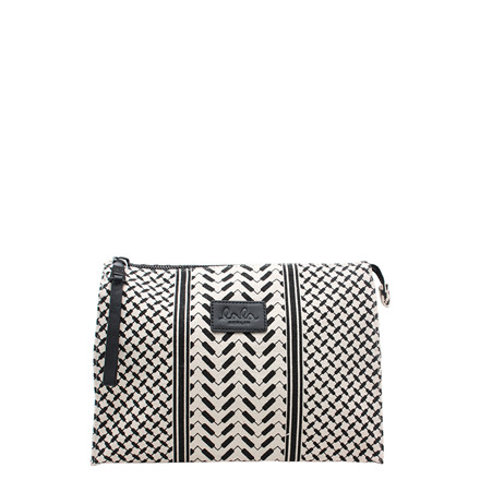 LALA BERLIN TASKE - POUCH PILI OFF-WHITE/BLACK