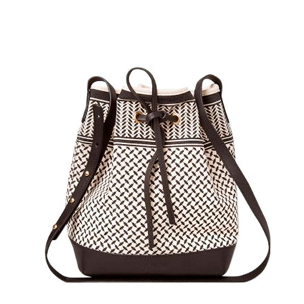 LALA BERLIN TASKE - CANVAS BUCKET BAG KUFIYA OFF-WHITE