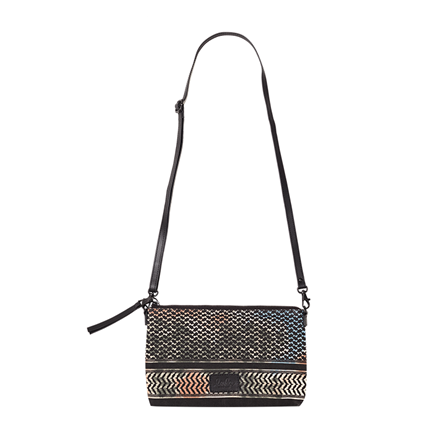 LALA BERLIN TASKE - SHOULDER BAG FABIANA CANVAS KUFIYA SCRIBBLED MULTI