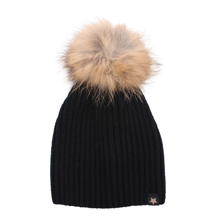 ET-TU HUE - KNITHUT RIB/FUR 49 BLACK NATURAL