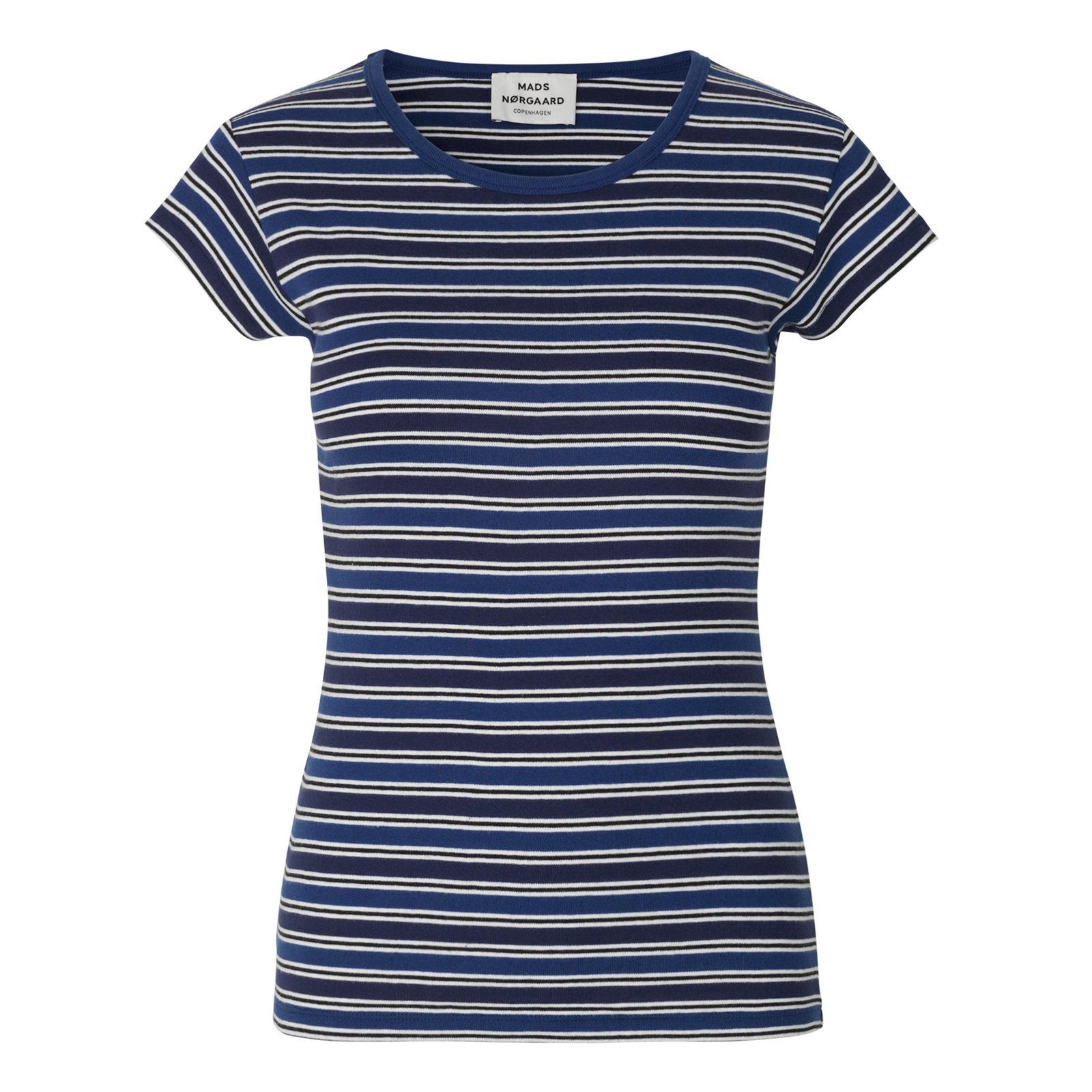 MADS NØRGAARD T-SHIRT - TRAPPY STRIPE NAVY/DARK NAVY