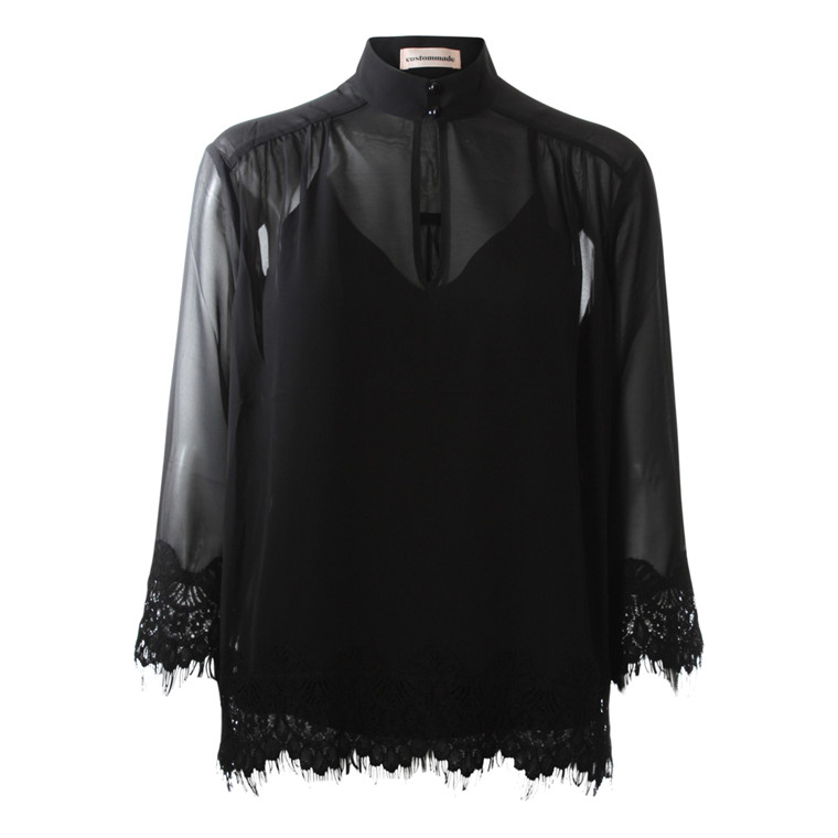 CUSTOMMADE BLUSE - KARRIE ANTHRACITE BLACK