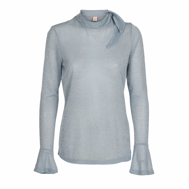 CUSTOMMADE BLUSE - ANORA DUSTY BLUE