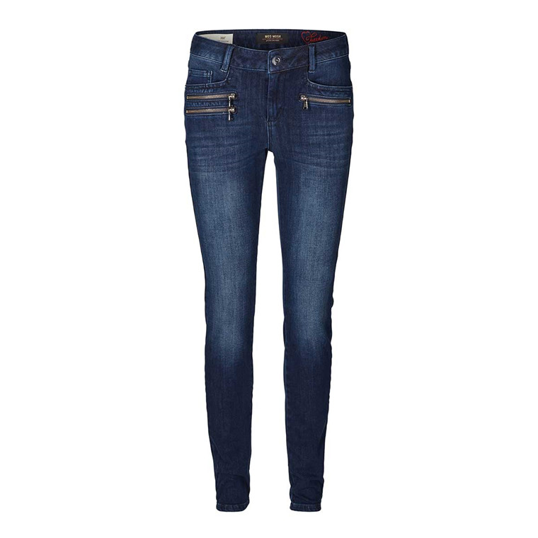 MOS MOSH JEANS - BERLIN ZIP FREEDOM - BLUE DENIM