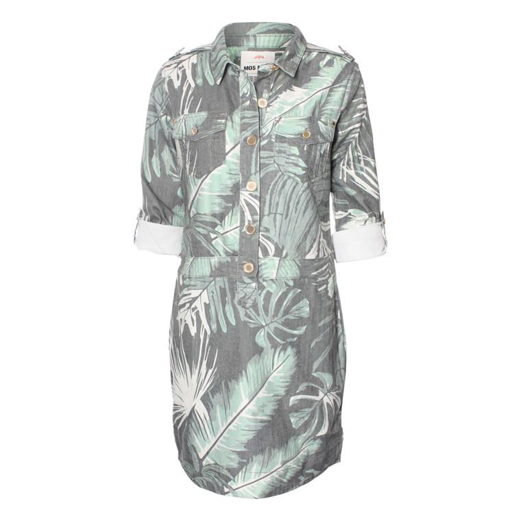 MOS MOSH KJOLE - PALM DRESS ARMY PRINT