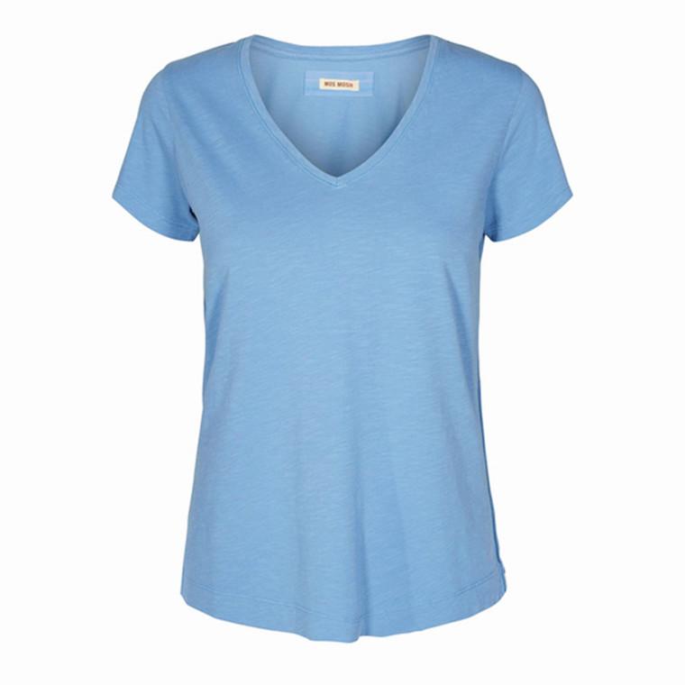 MOS MOSH T-SHIRT - ARDEN V-NECK ALLURE BLUE