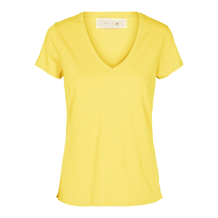 MOS MOSH T-SHIRT - ARDEN V-NECK LEMON