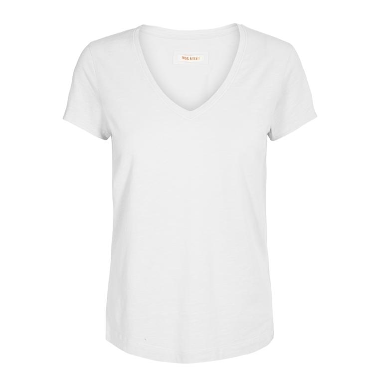 MOS MOSH T-SHIRT - ARDEN V-NECK WHITE