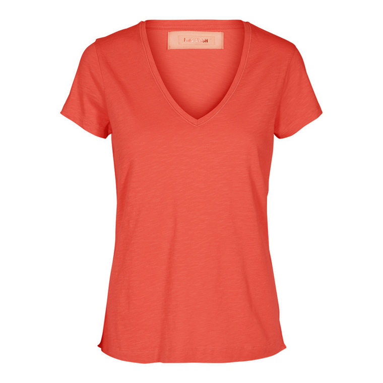 MOS MOSH T-SHIRT - ARDEN V-NECK BURNT SIENNA